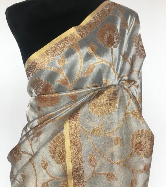 Silver Tissue Saree with Woven Gold Zari Motifs