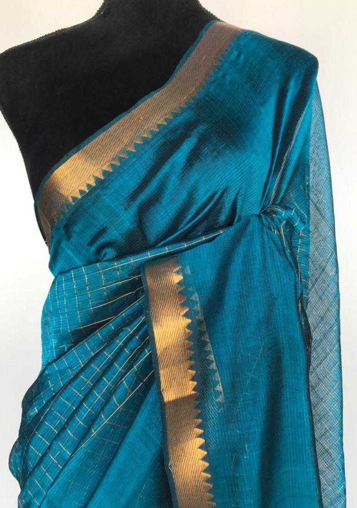 Ocean Blue Mangalagiri Silk Saree with gold zari checks