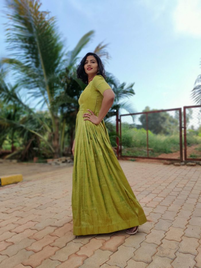 Green Banarasi Silk Dress