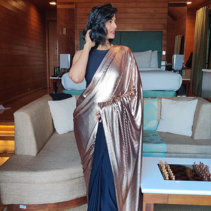 Rose Gold Embellished Designer Saree