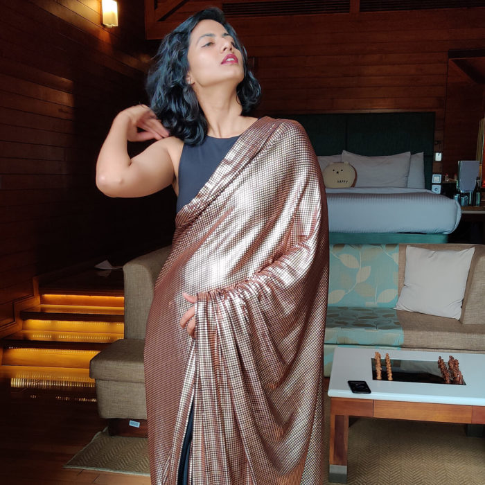 Rose Gold Embellished Designer Saree