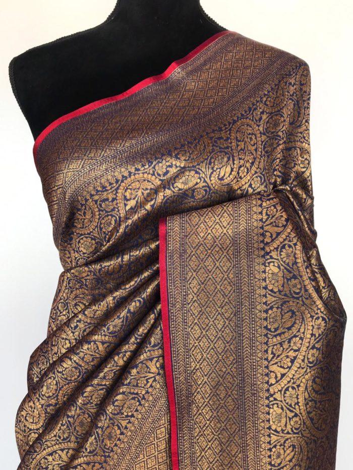 Navyblue Banarasi Silk Saree with Intricate Antique Gold Zari Weaves