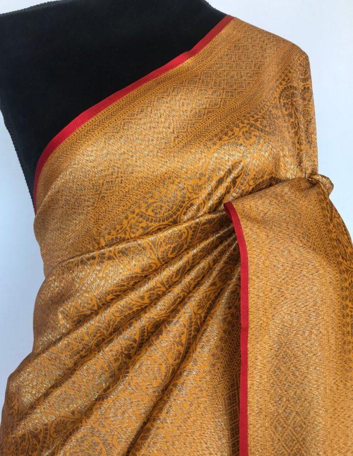 Mustard Banarasi Silk Saree with Intricate Antique Gold Zari Weaves