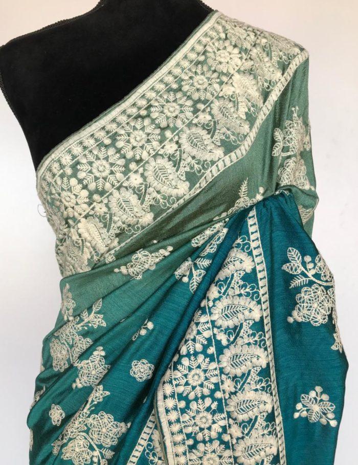 Multicolored beautiful blue embroidery saree