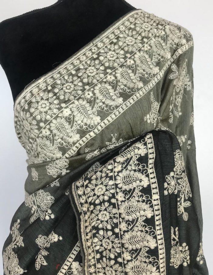 Olive Green Multicolored Silk Saree with Beautiful Embroidery