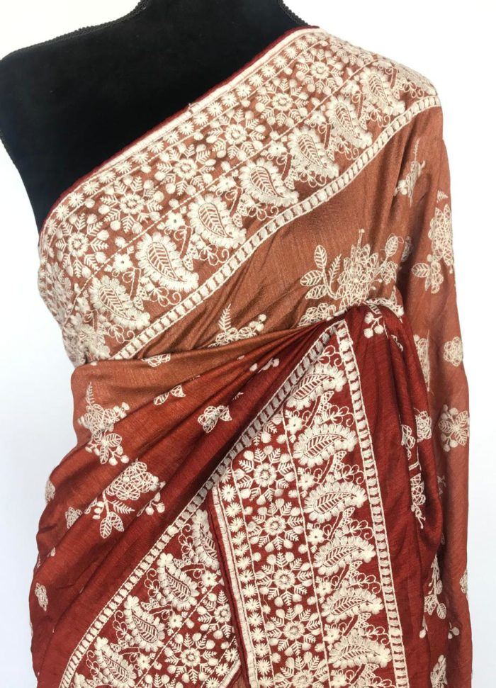 Copper Multicolored Silk Saree with Beautiful Embroidery