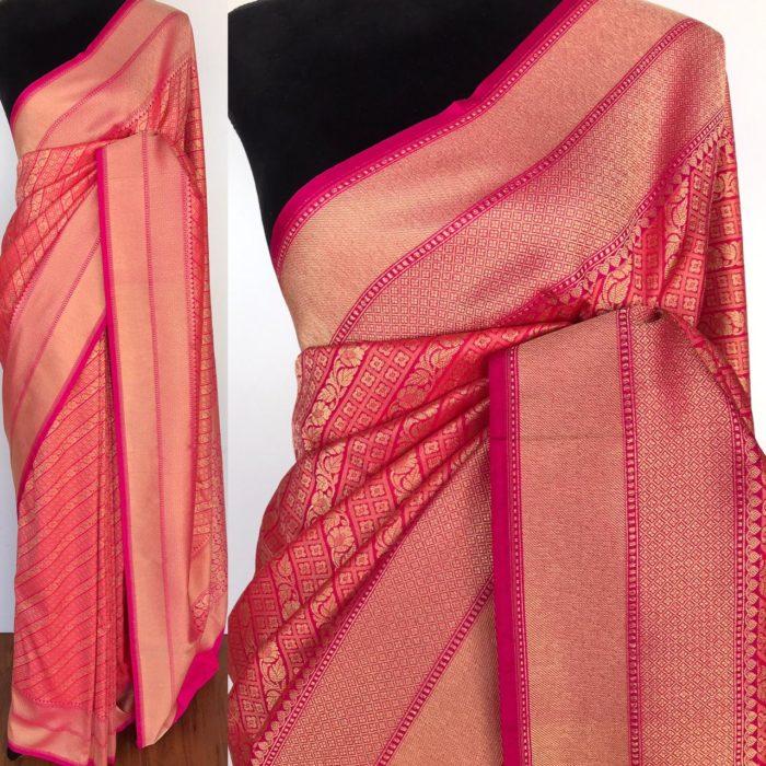 Pink Katan Silk Saree with Gold Zari Weaves