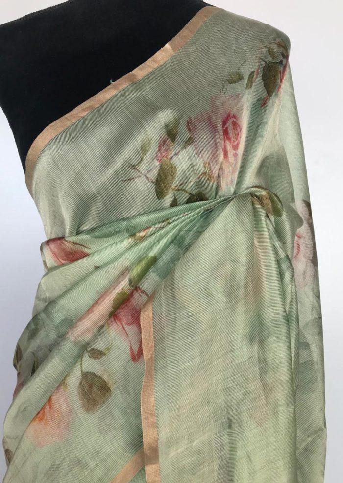 Sea Green Chiniya Silk Saree with Printed Florals
