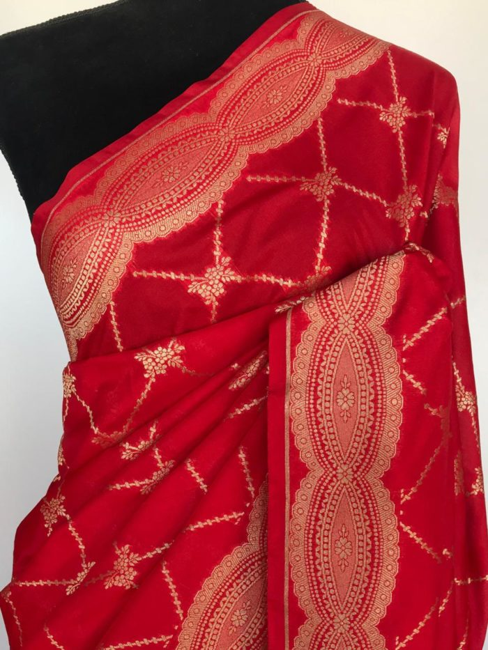Red Katan Silk Saree with Gold Zari Weaves
