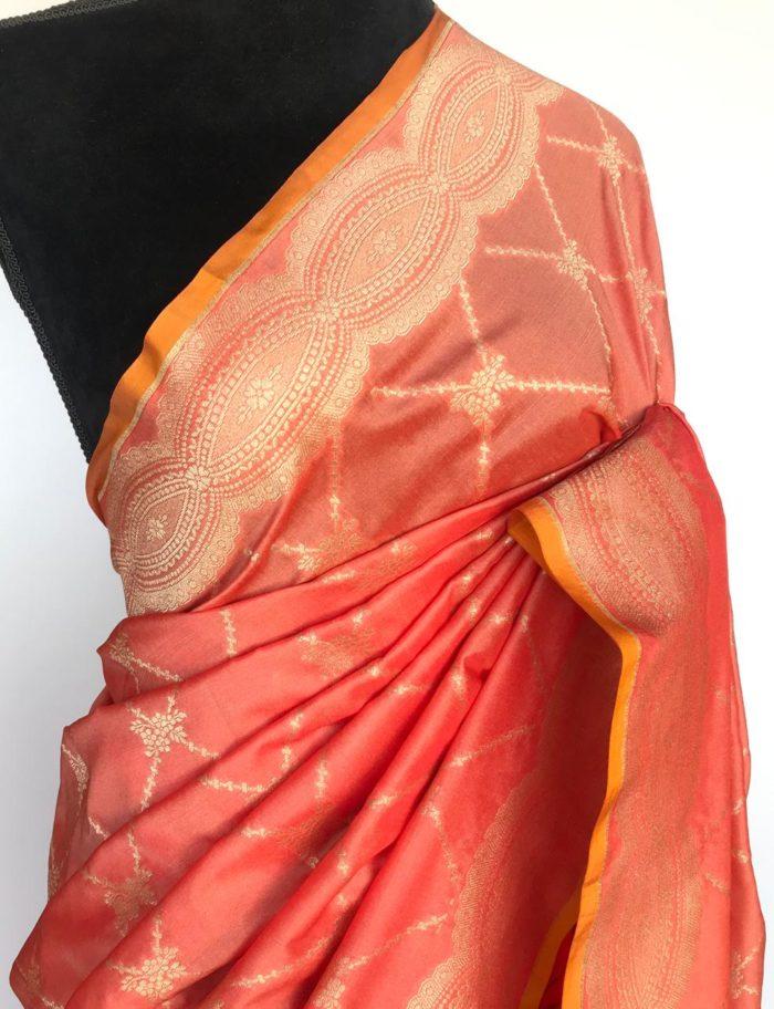 Peach Katan Silk Saree with Gold Zari Weaves