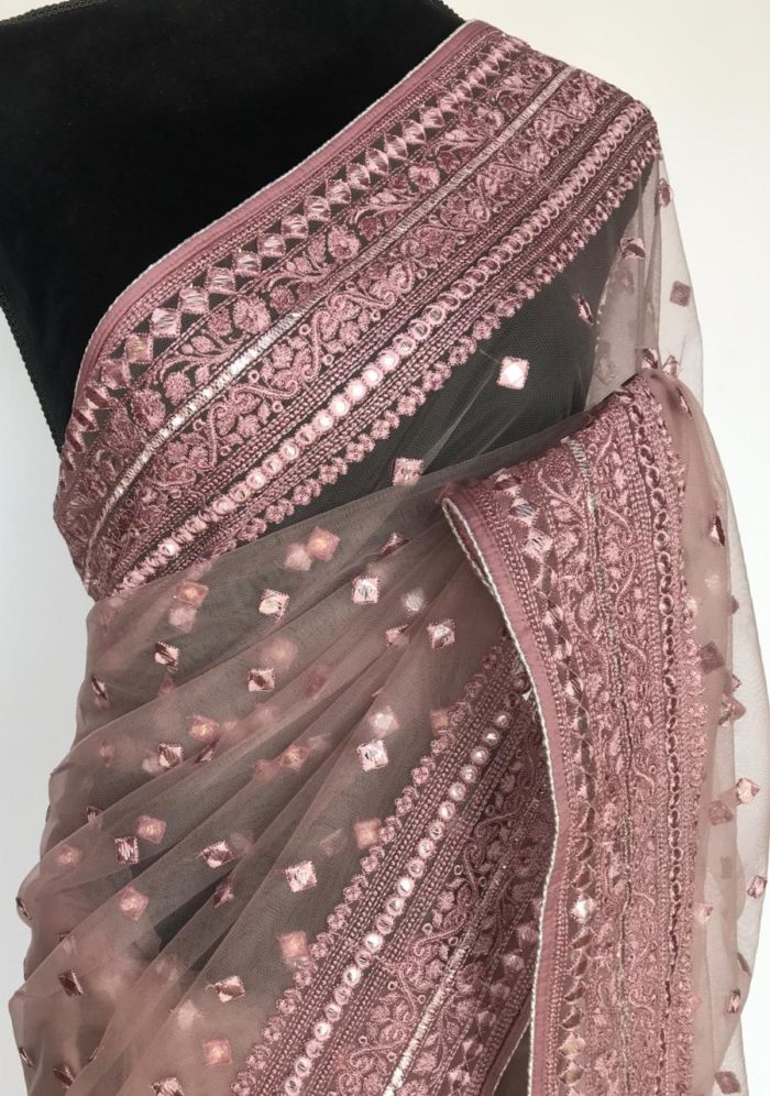Mauve Designer Net Saree with Gota Work