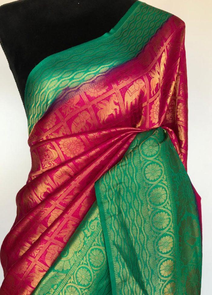 Rani Pink Banarasi Silk Saree with Gold Zari Weaves
