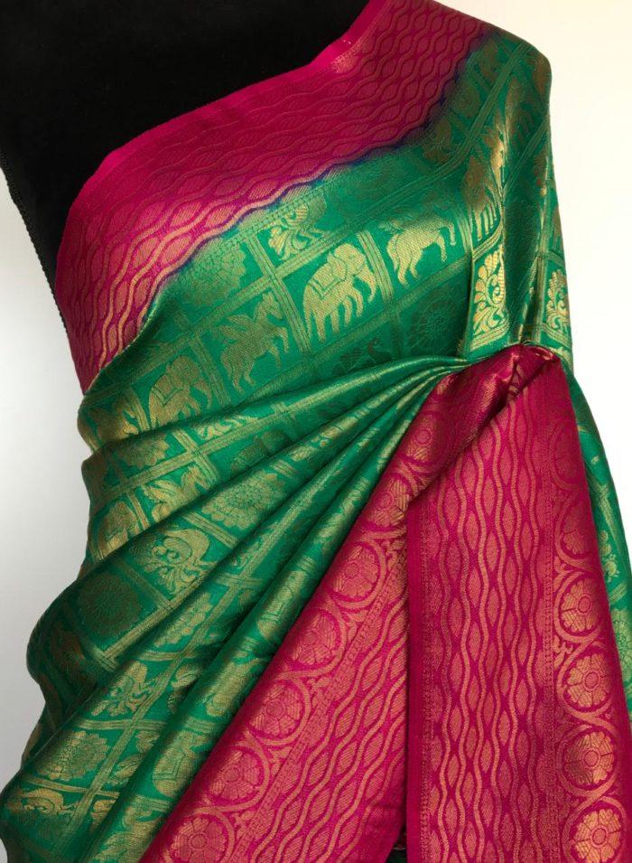 Emerald Green Banarasi Silk Saree woven in Gold Zari