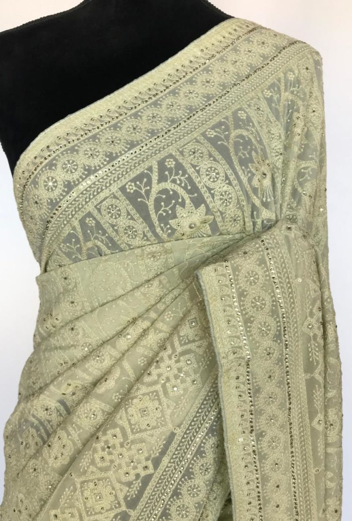 Romaine Green Georgette Saree with Lucknowi Embroidery