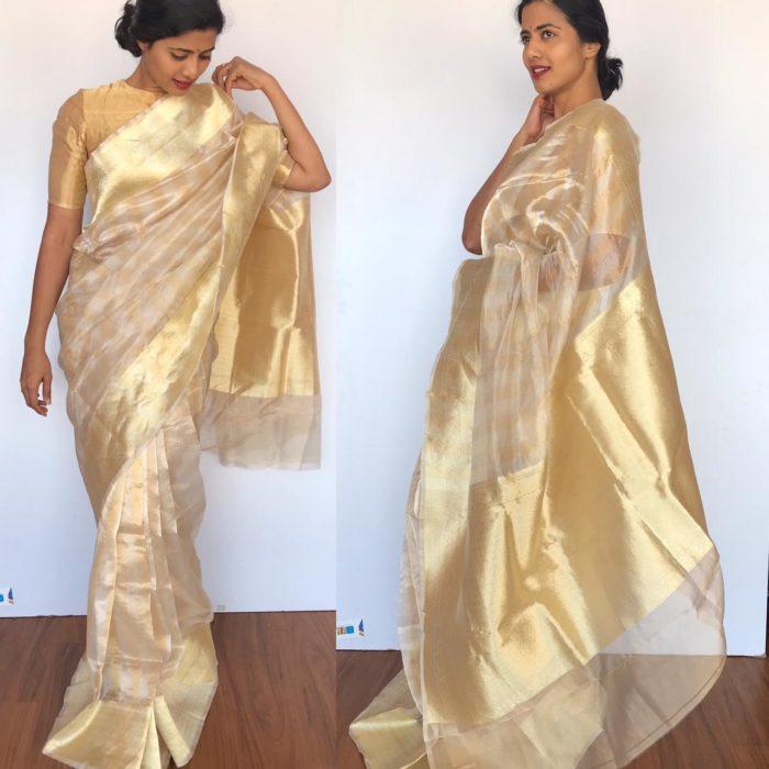 Offwhite Tissue Silk Saree with Beautiful Zari Border