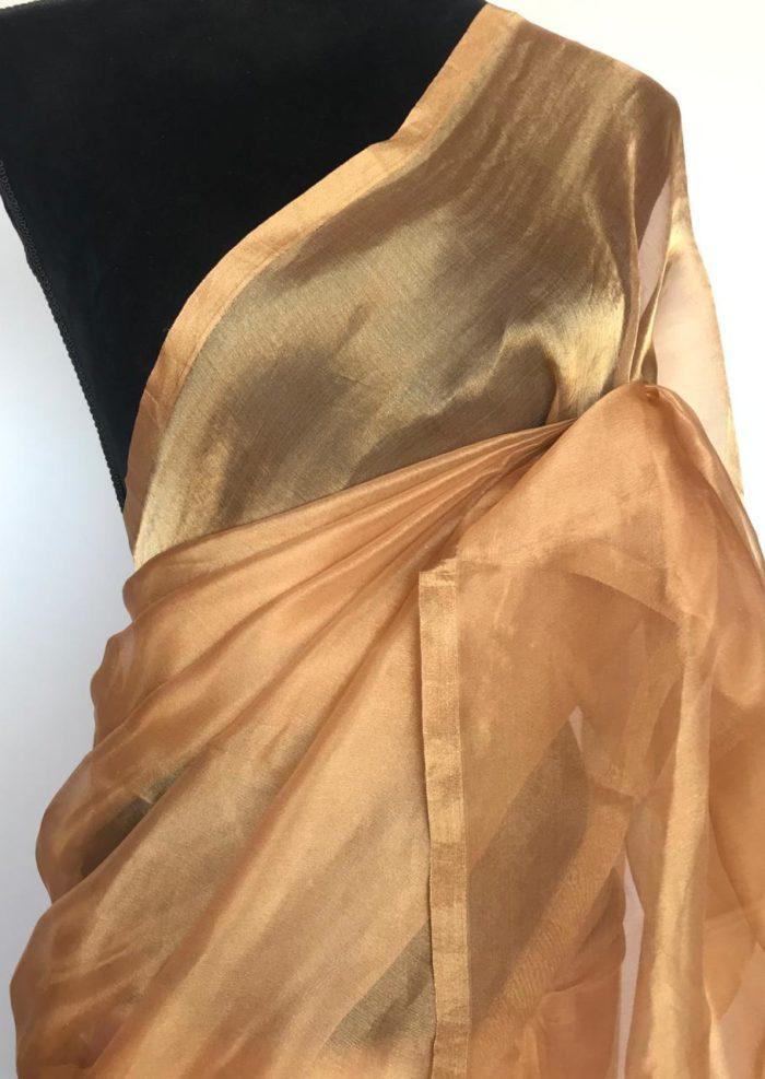 Peach Tissue Silk Saree