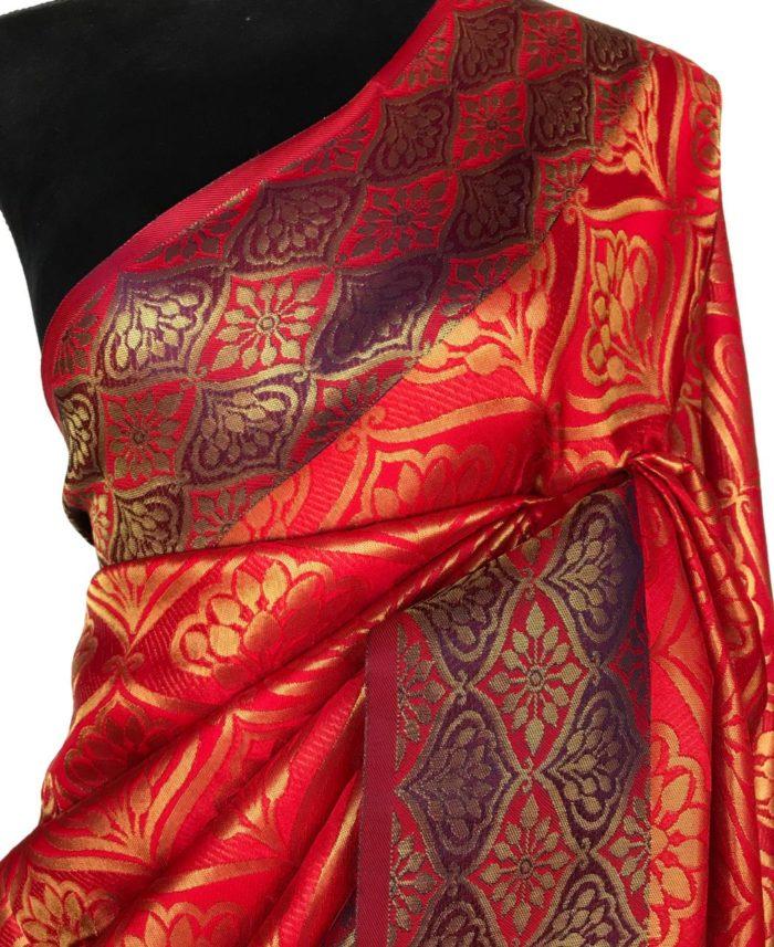Red Banarasi Silk Saree with Antique Gold Zari Weaves