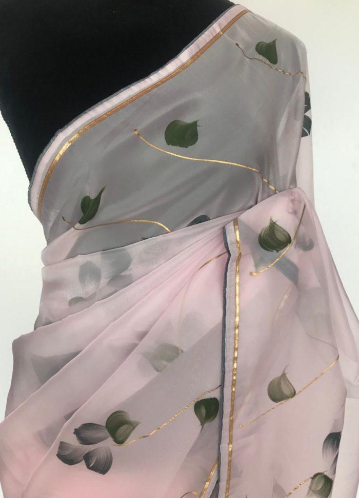 Baby Pink Organza Saree with Floral Prints