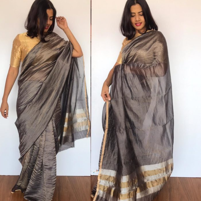 Grey Chiniya Silk Saree with Golden Zari Stripes