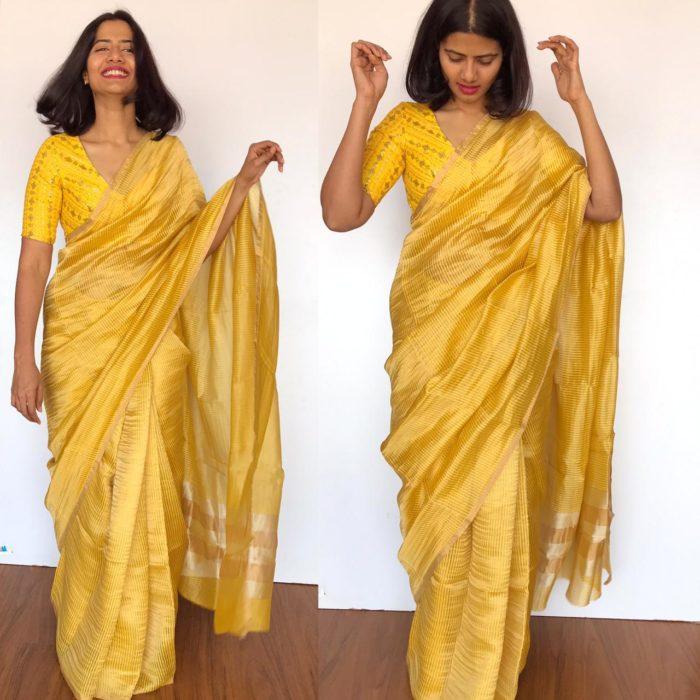 Yellow Chiniya Silk Saree with Golden Zari Stripes