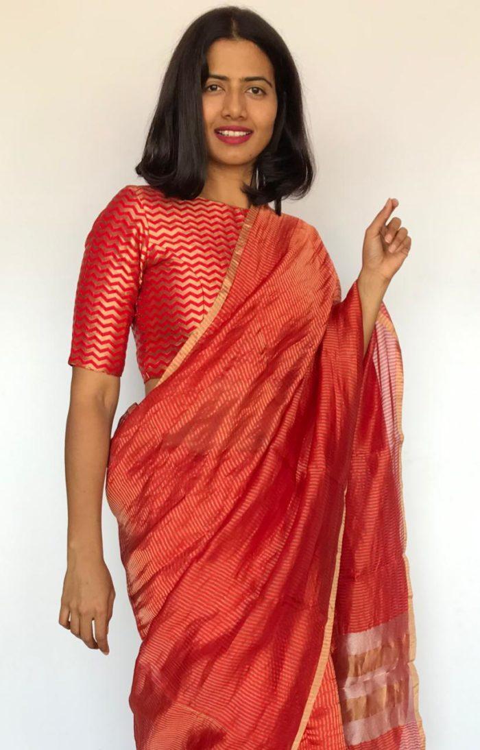 Red Chiniya Silk Saree with Golden Zari Stripes