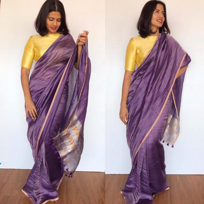 Purple Chiniya Silk Saree with Golden Zari Stripes