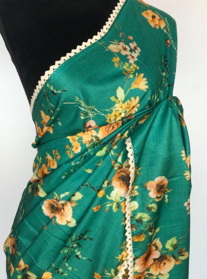 Green Banarasi Silk Saree with Printed Florals