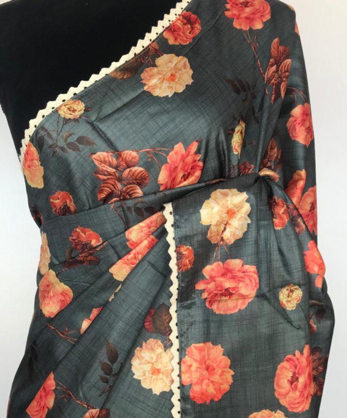 Grey Banarasi Silk Saree with Printed Florals