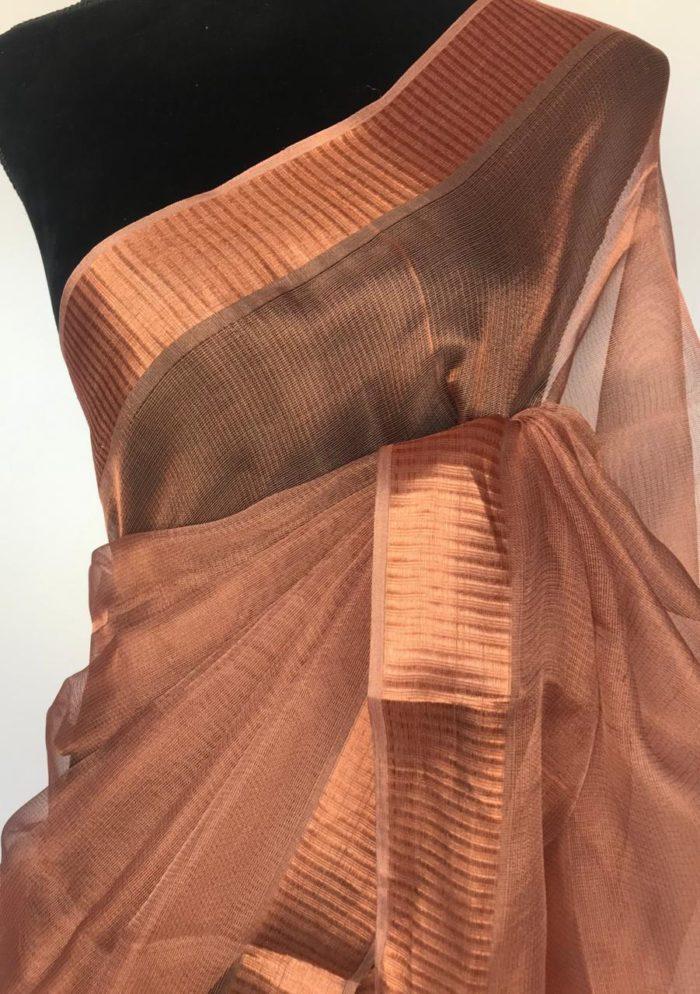 Copper Tissue Silk Saree with Copper Zari Weaves