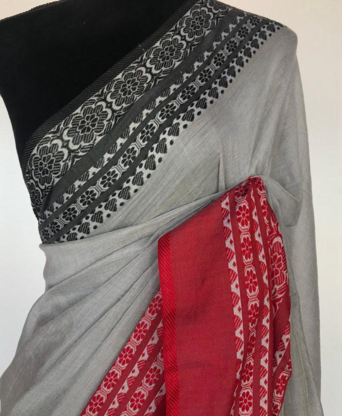 Grey Handwoven Begumpuri Cotton Saree with Khadi Woven Border