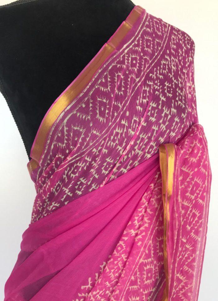 Rose Pink Block Printed Chiffon Saree