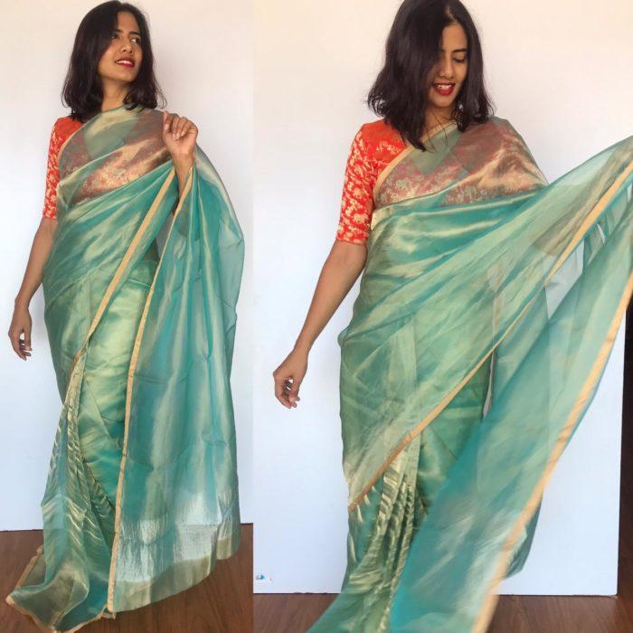 Turquoise Tissue Silk Saree