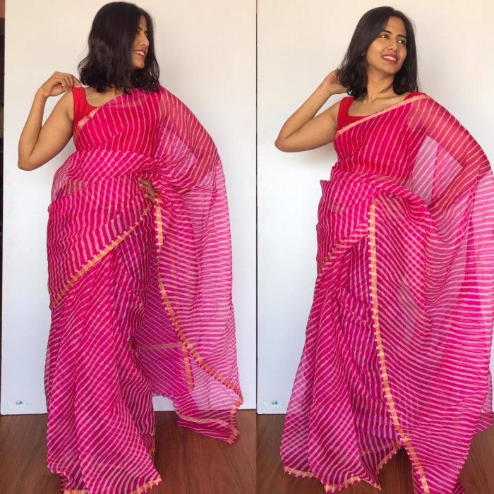 Hot Pink Kota Silk Leheriya Saree