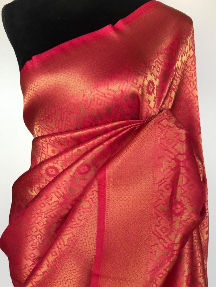 Sorbet Pink Banarasi Silk Saree with Gold Zari Weaves