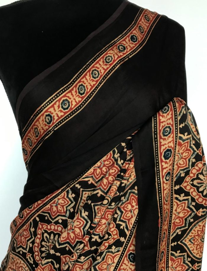 Black Modal Silk Saree with Ajrakh Hand Block Prints