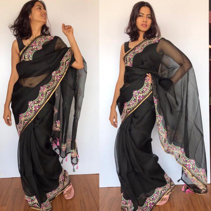 Black Organza Silk Saree with Beautiful Embroidery