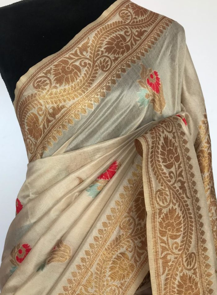 Off White Banarasi Silk Saree with Antique Gold Zari Weaves