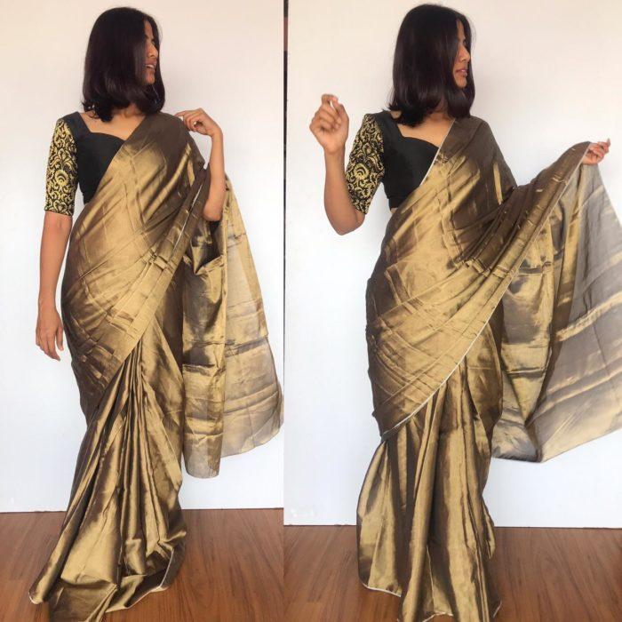 Metallic Gold Tissue Silk Saree