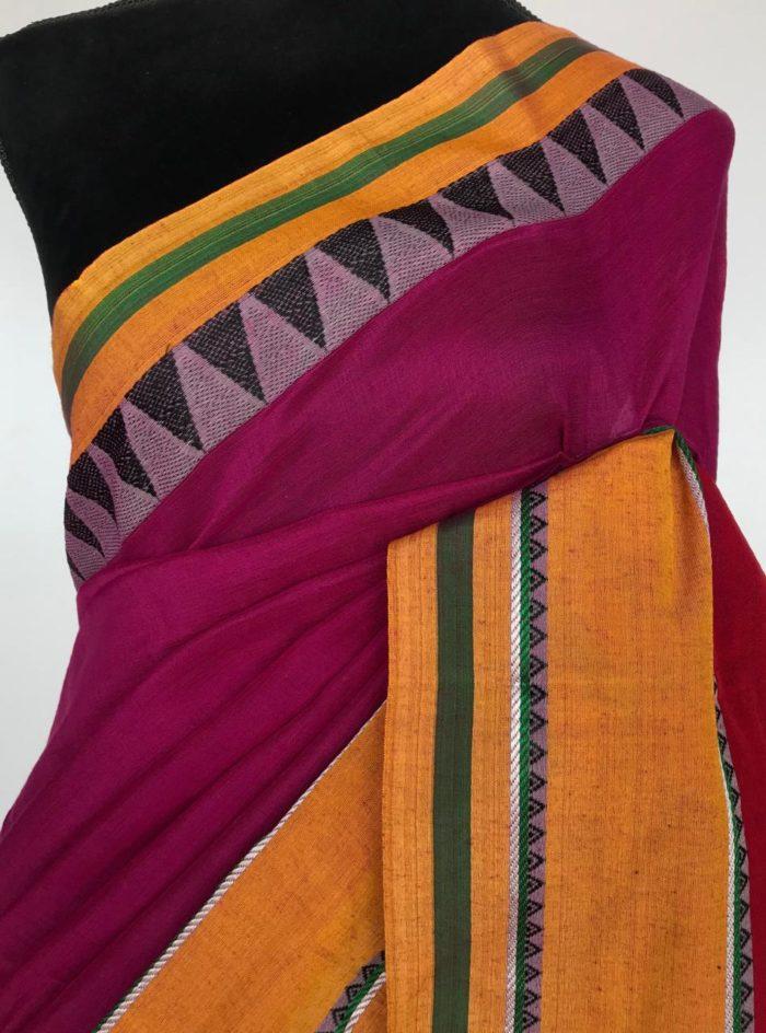 Magenta Pink Handloom Cotton Saree