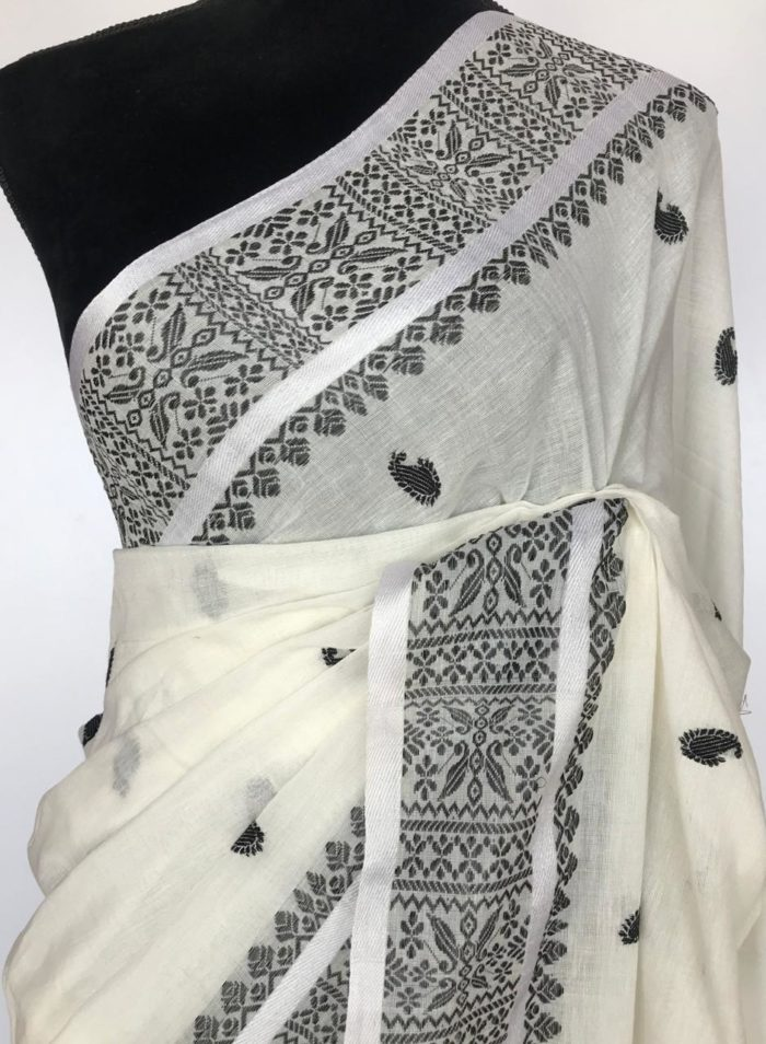 White Handwoven Cotton Jamdani Saree
