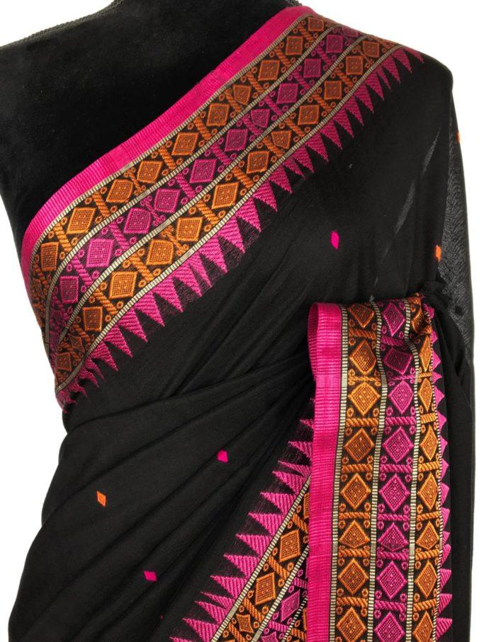 Black Handwoven Cotton Jamdani Saree