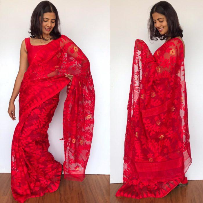 red sarees under 3000