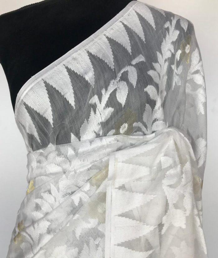 White Handwoven Cotton Silk Jamdani Saree