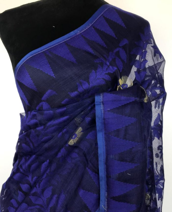Blue Handwoven Cotton Silk Jamdani Saree
