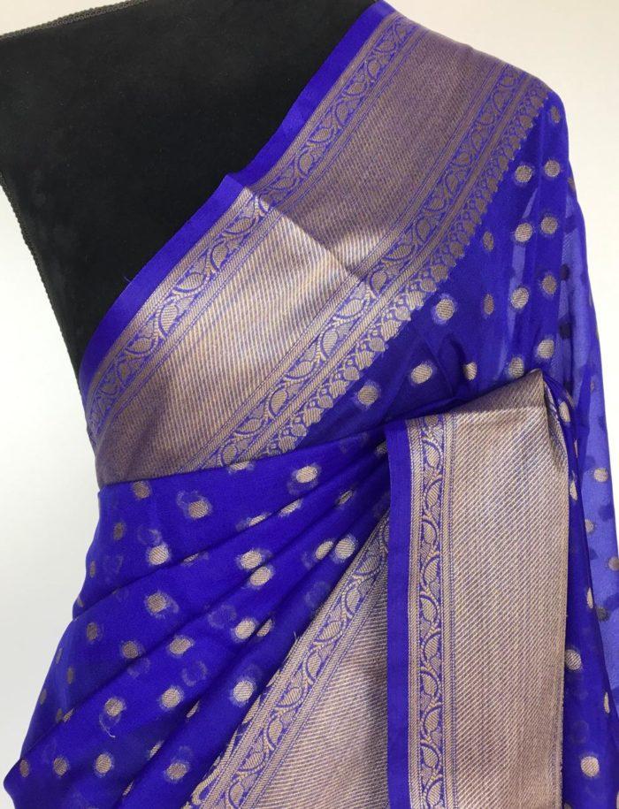 Royal Blue Banarasi Silk Saree in Semi Georgette with Antique Silver Zari Weaves