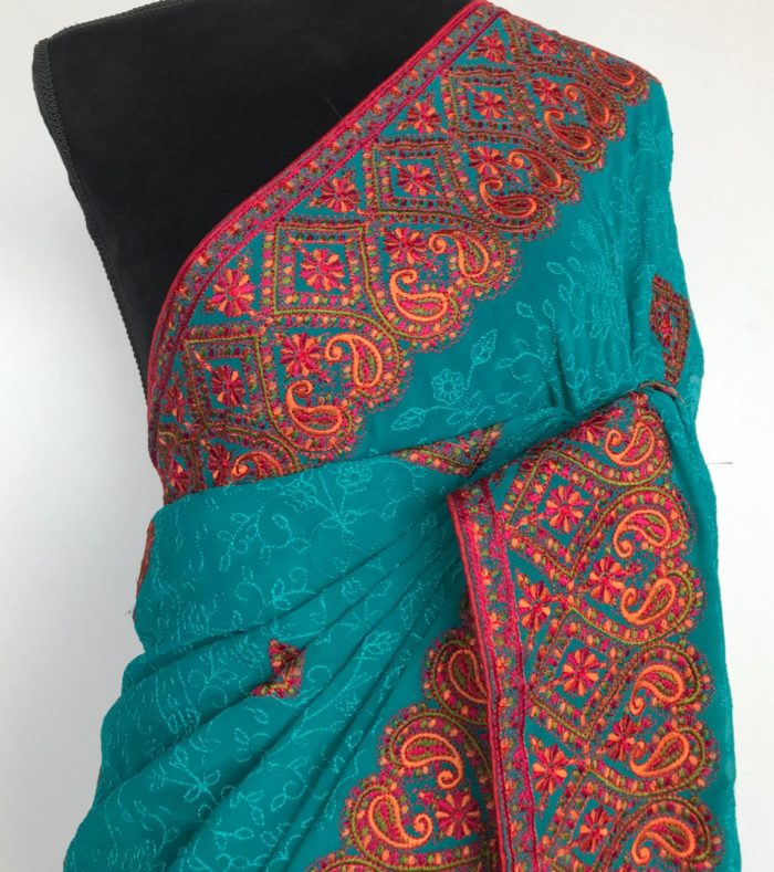 Blue Georgette Saree with intricate Kashmiri Embroidery