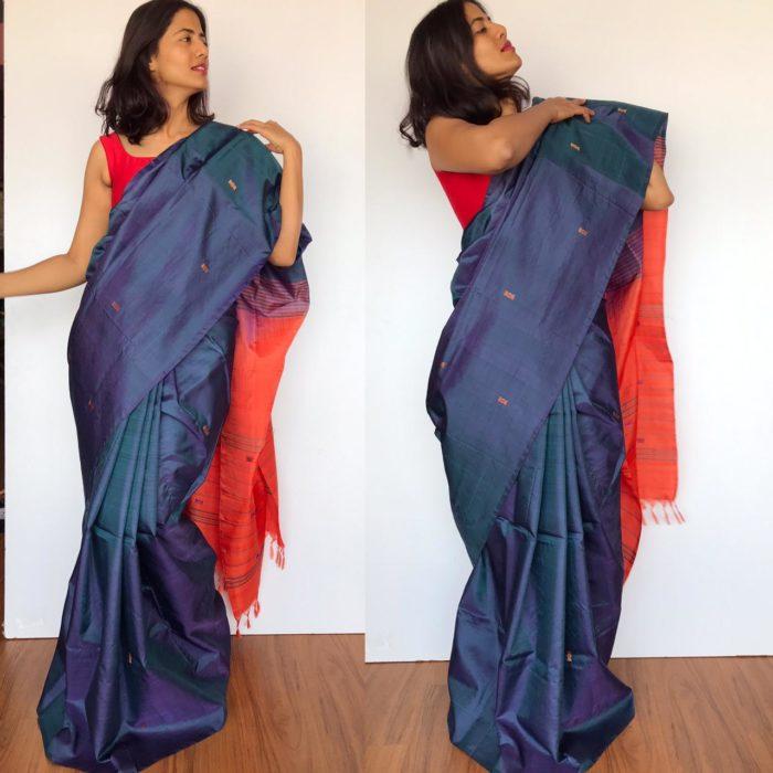 Ocean Blue Chinnalapattu Silk Saree with Handwoven Buttas