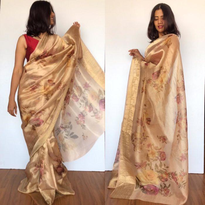 Gold Tissue Silk Saree with Printed Florals