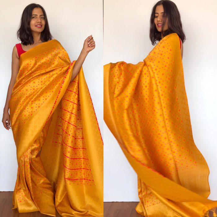 Mustard Banarasi Silk Saree with Meenakari and Gold Zari Weaves