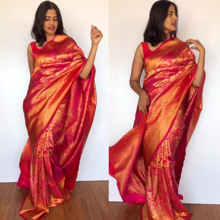 Pink Banarasi Silk Saree with Antique Zari Weaves